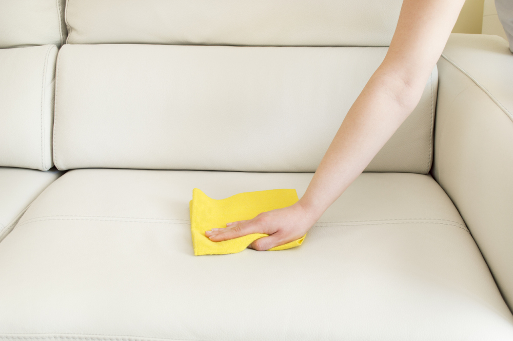 cleaning a leather sofa