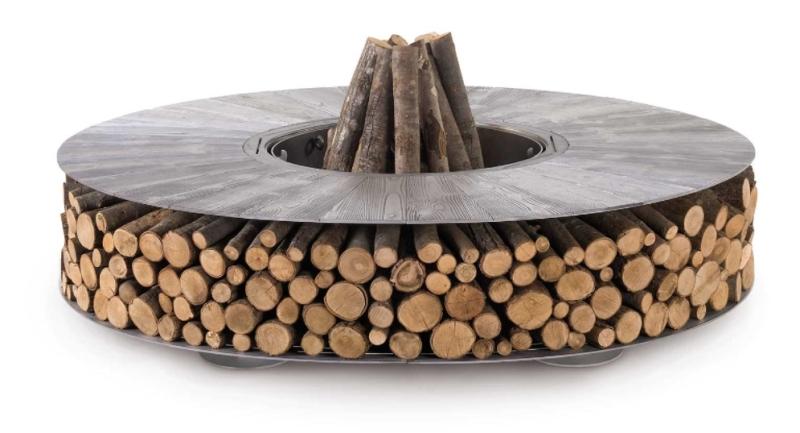 Zero fire pit with wood storage
