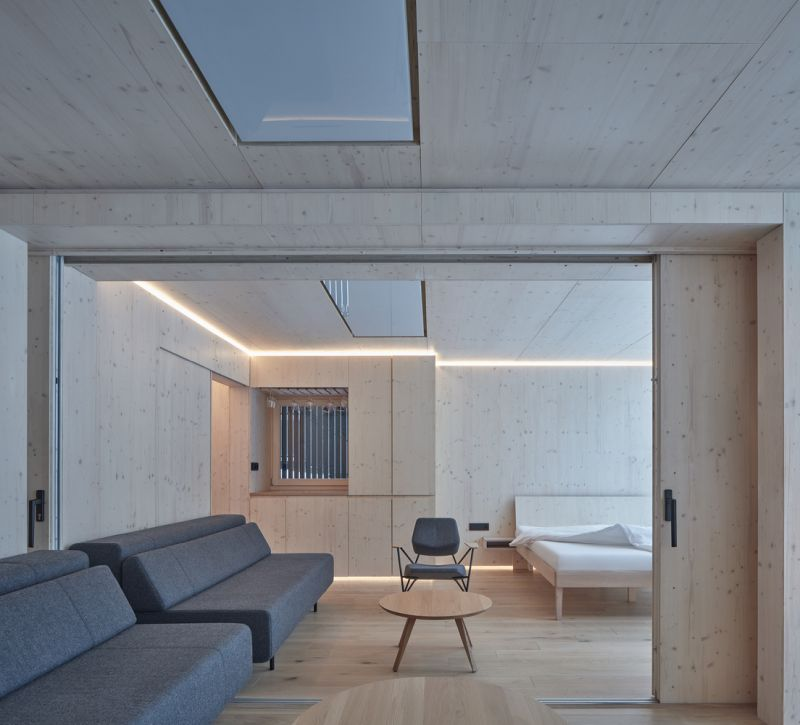 The interior is modern and very simple but also warm and welcoming