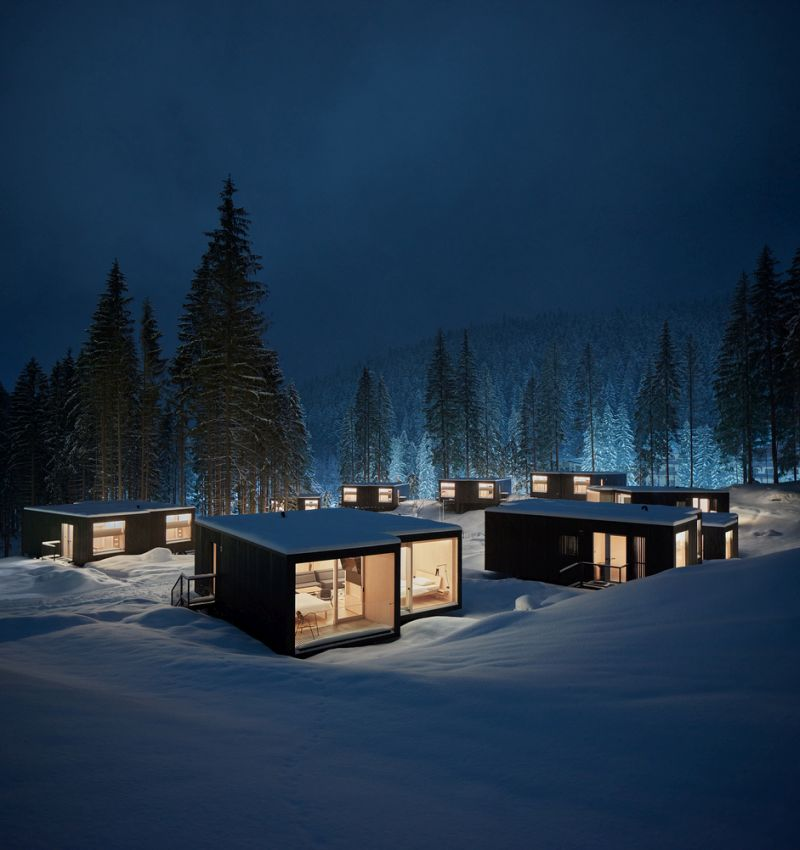 The glazed facades are facing away from each other so each cabin can have a lovely view and plenty of privacy