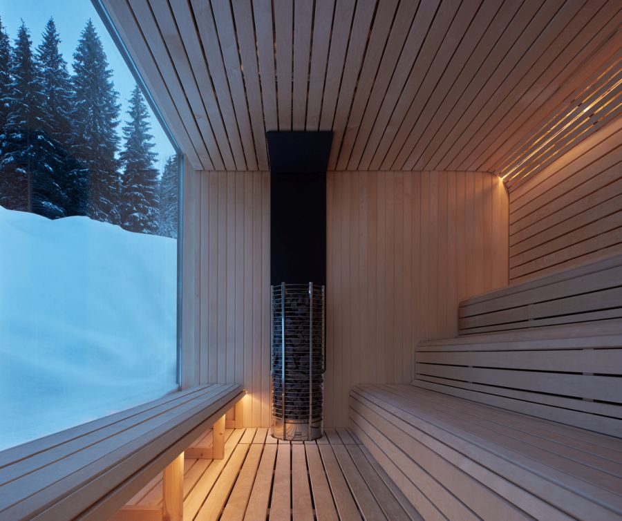 In addition to the cabins, the architects also added a series of modern saunas