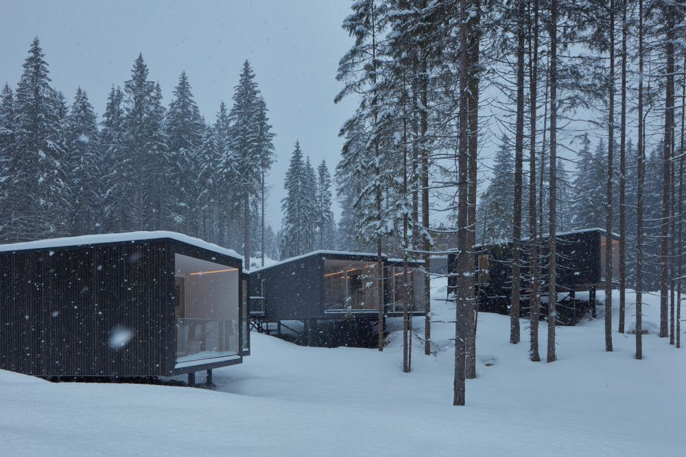 All the trees present here were preserved and the cabins were spread out and placed in between them