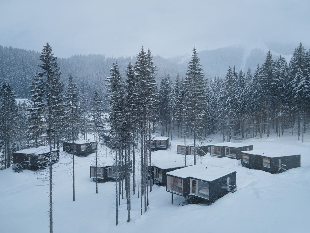 The cabins are raised on stilts and this allows them to have a minimal impact on the land