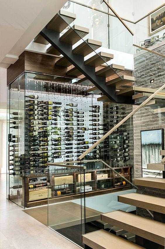 villa contemporary staircase and wine cellar