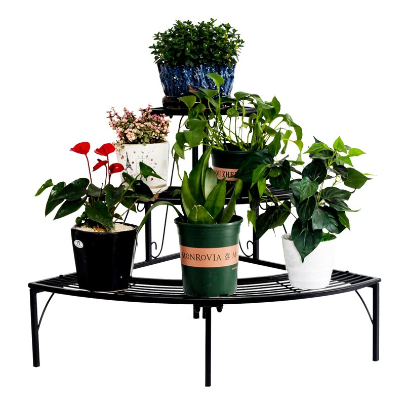 3 Tier Quarter Round Plant Corner Shelf Plant Stand Outdoor