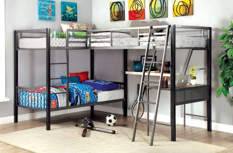 Adnaan Contemporary Twin over Twin L-Shaped Bunk & Loft Bed