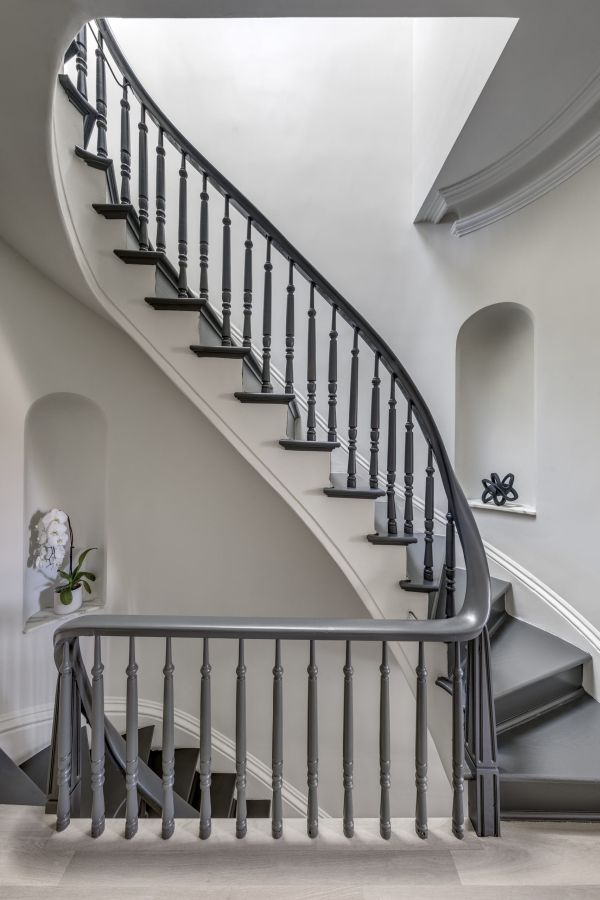 The original staircase was preserved and restored