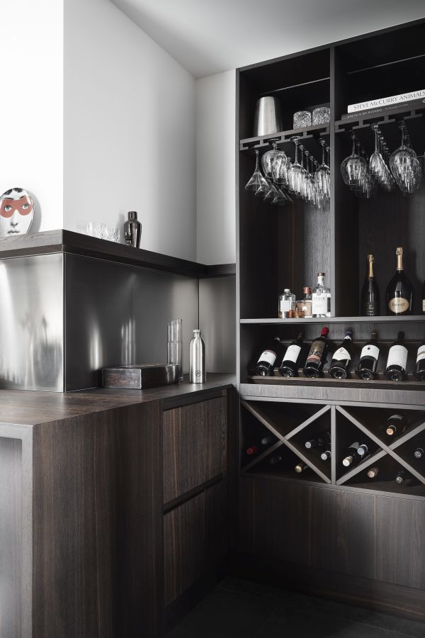 One of the corners serves as a small wine tasting area