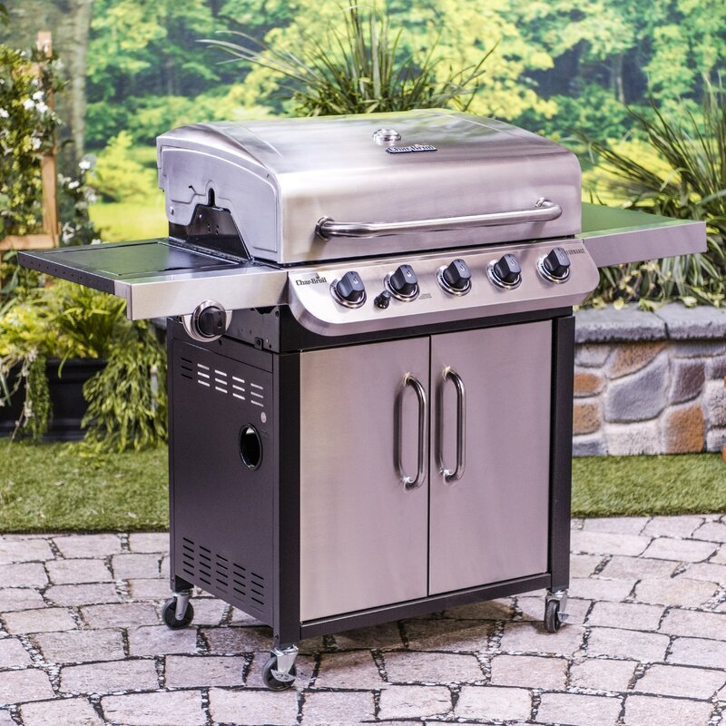 Burner Free Standing Liquid Propane 45000 BTU Gas Grill with Side Burner and Cabinet