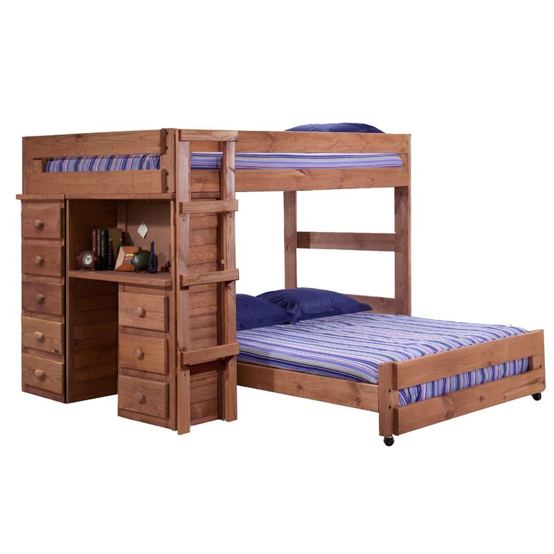 Choe Full Over Full Solid Wood L-Shaped Bunk Beds with Built-in-Desk