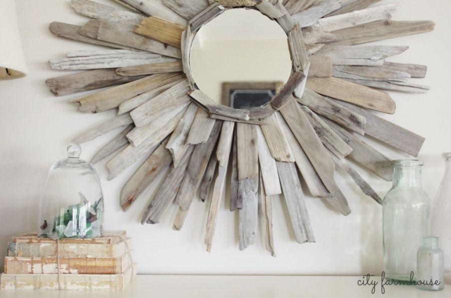 DIY driftwood mirror frame