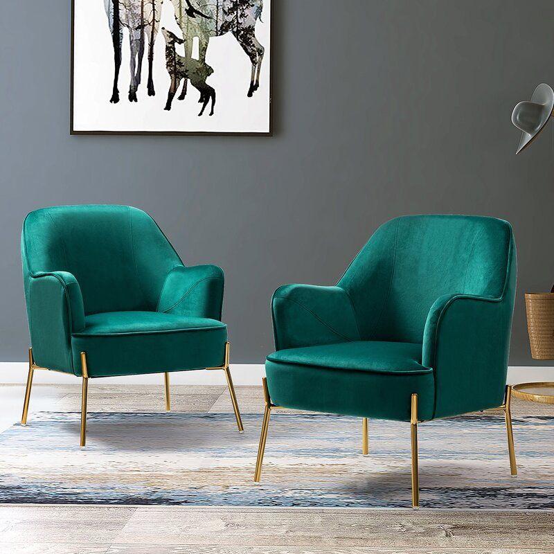 Green Cleo Velvet Armchair