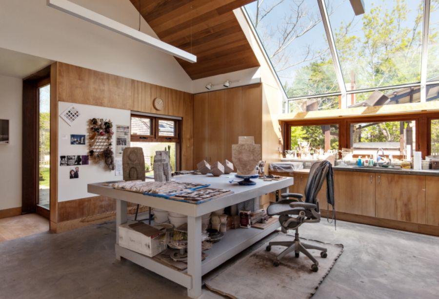 Art studio with ceiling light