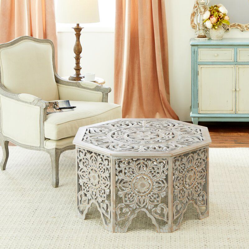 Coraline Gray-Washed Decorative Carved Wood Coffee Table
