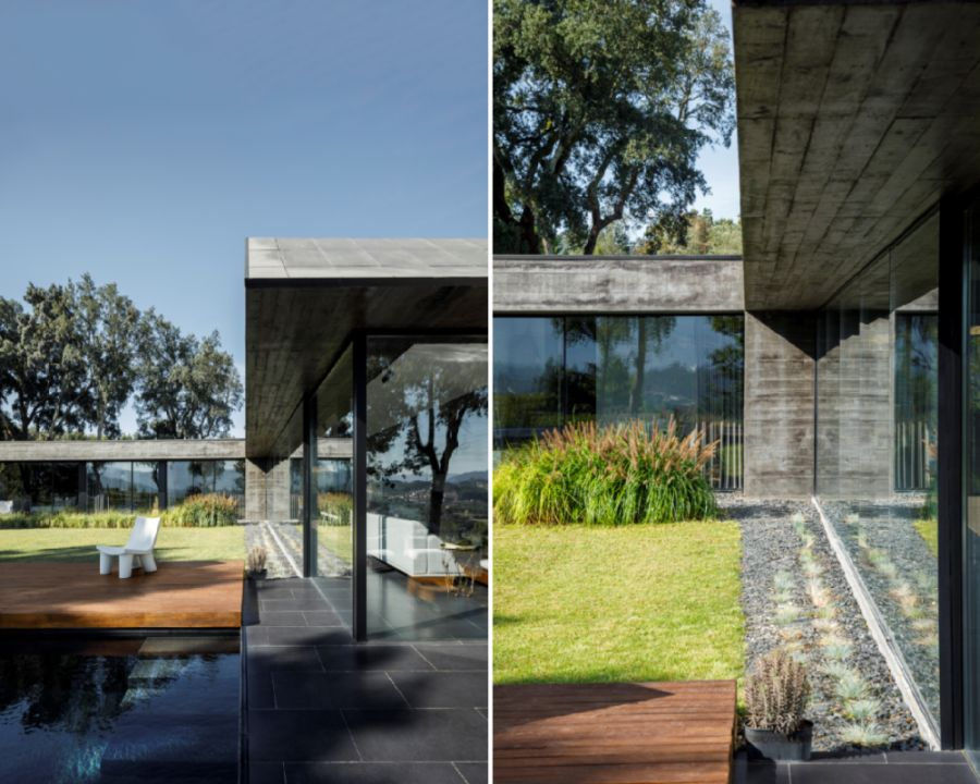 The entire exterior of the house is built out of raw concrete which helps it fit into the context of this landscape
