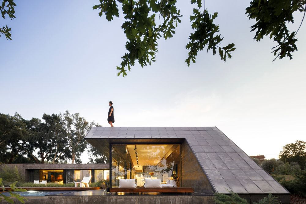A defining design feature for the house is the fact that it has sloped facades