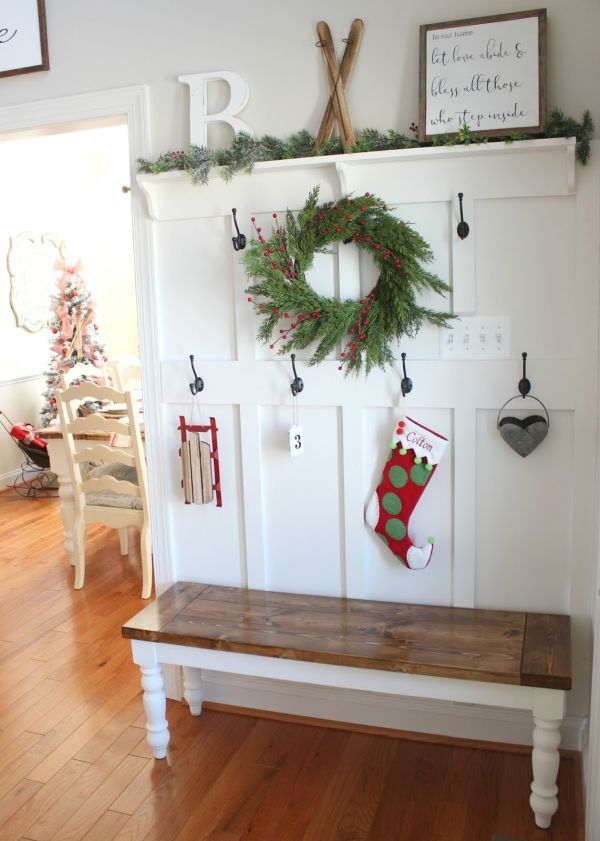 Layered coat rack and farmhouse bench combo