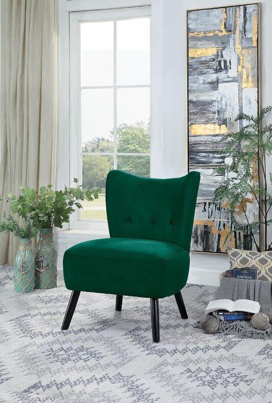 Green Easterling Velvet Slipper Chair