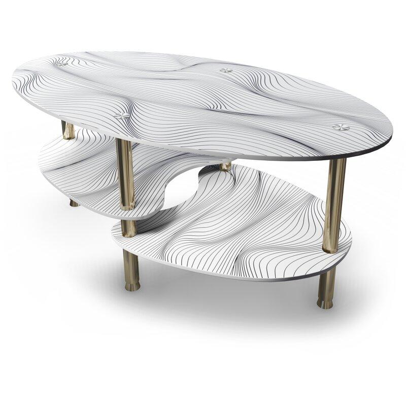 Emina Oval Glass Coffee Table with Storage