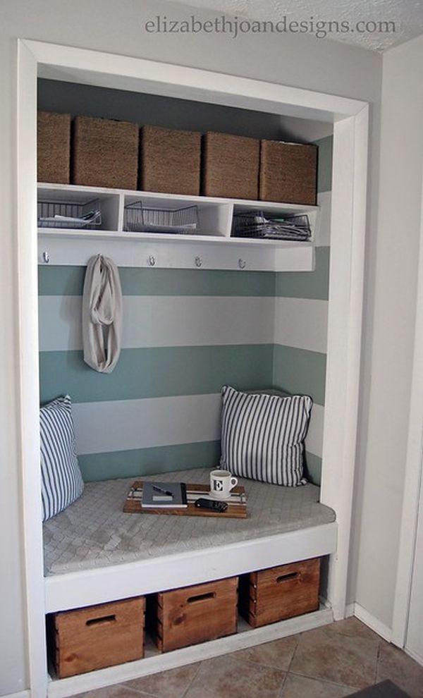 A cozy entryway nook with accessories