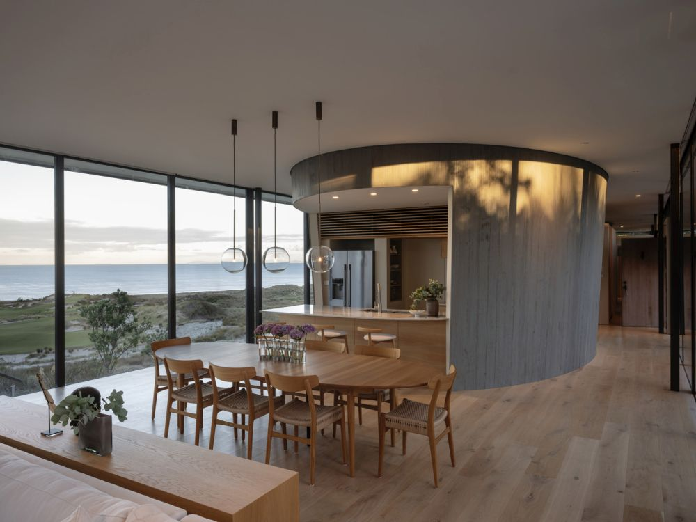 The kitchen is housed within one of the three cylindrical enclosures