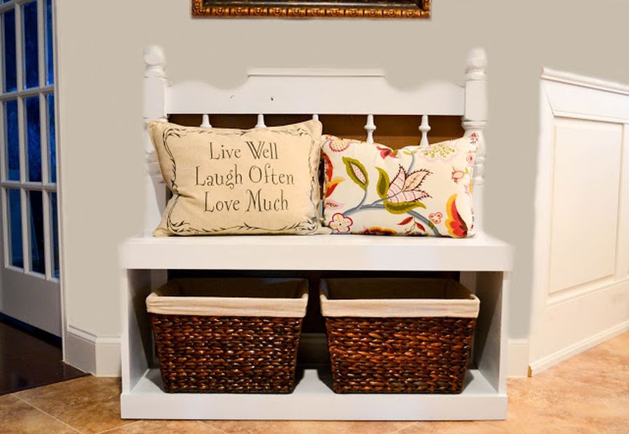 A headboard turned into a bench