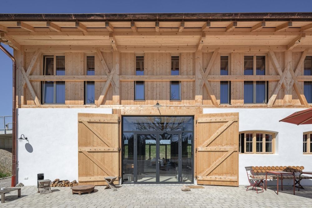 Special care and attention were given to the design of the facade which mimics the original farmhouse aesthetic