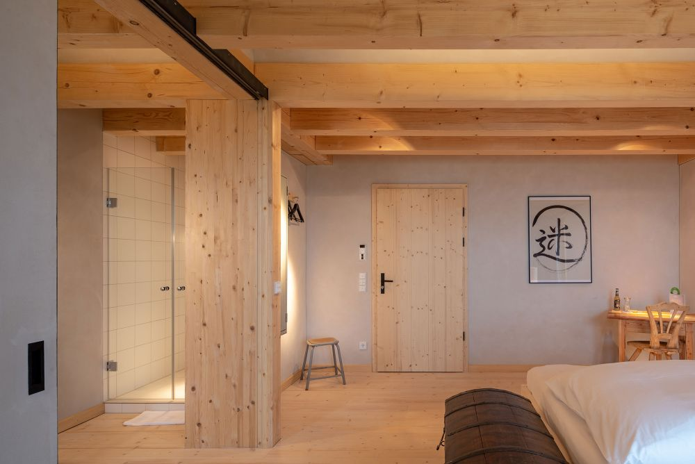 The bedrooms have en-suite bathrooms and each is different in a way