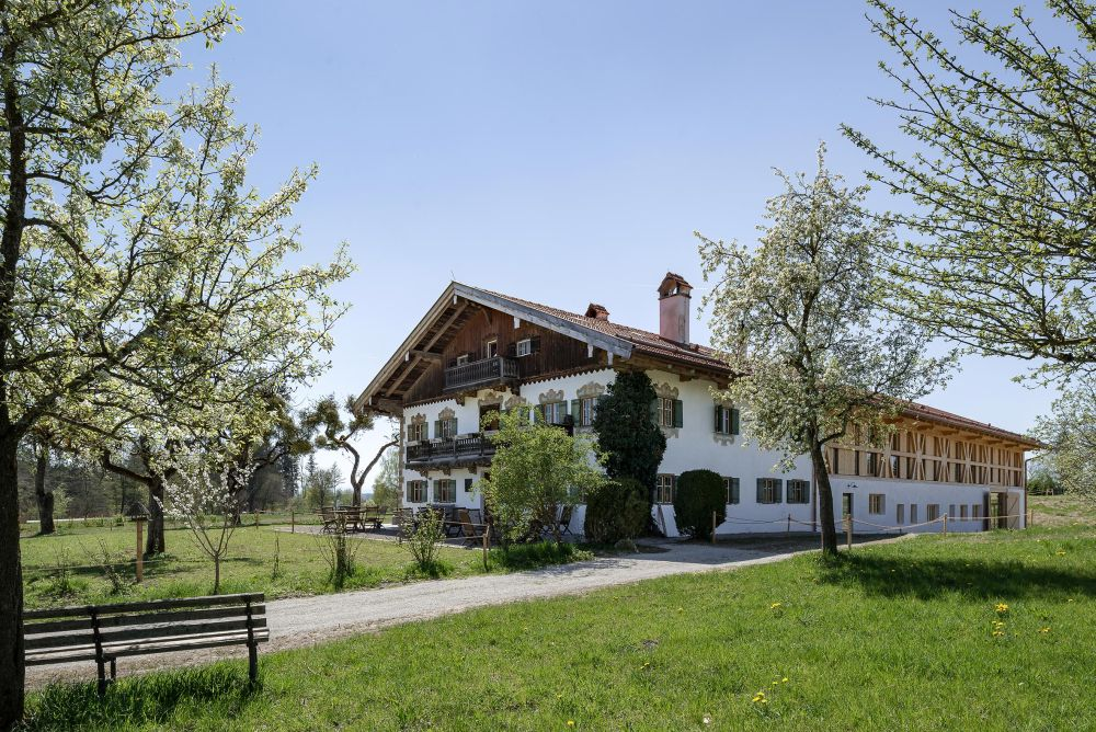 The reconstructed farmhouse sits in the middle of a beautiful clearing surrounded by lots of greenery