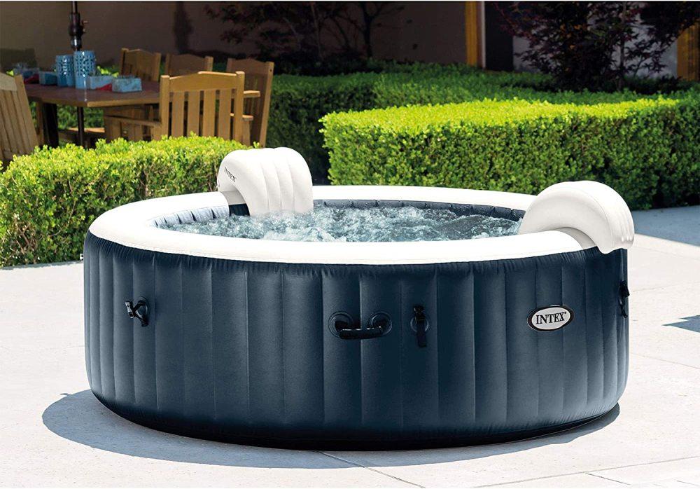 "Intex 28431E PureSpa Plus 85"" x 28"" 6 Person Outdoor Portable Inflatable Round Hot Tub Spa"