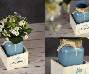 DIY Mason Jar Centerpiece With Flowers And Cute Ribbons