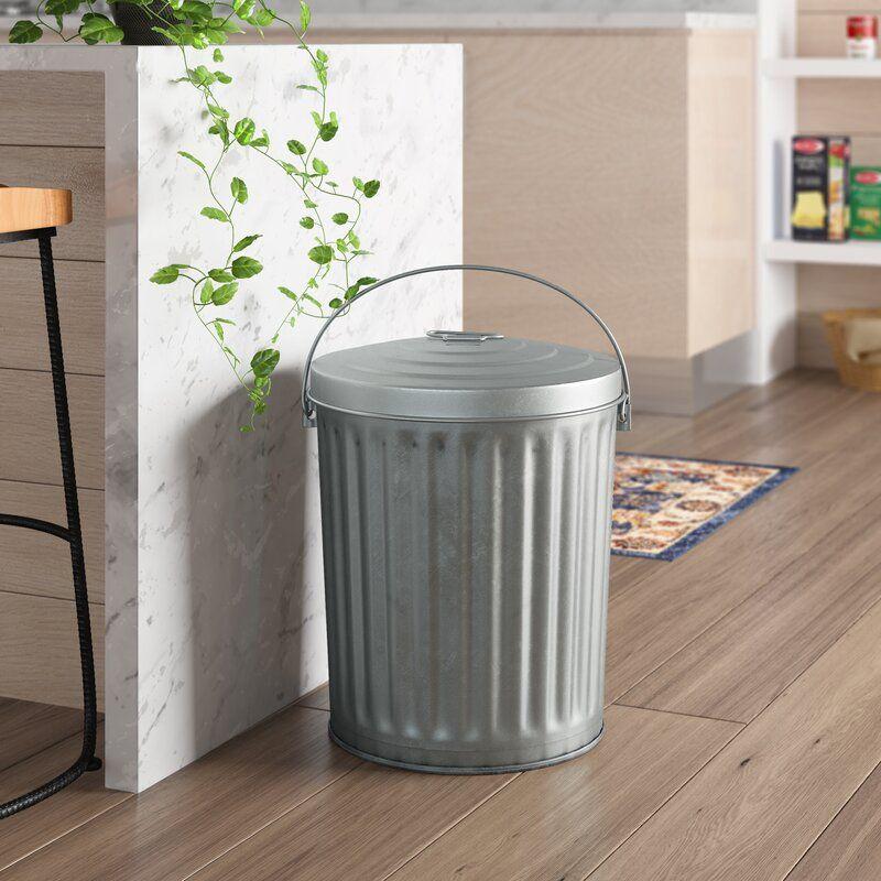 Medium Duty Galvanized 10 Gallon Curbside Trash
