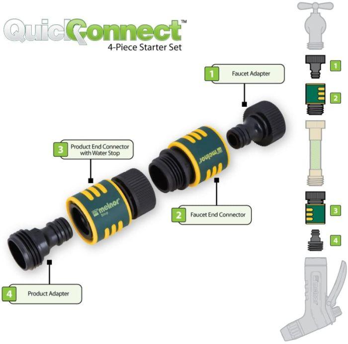 Melnor 15MQC 4 pc QuickConnect Set Hose Connector Kit