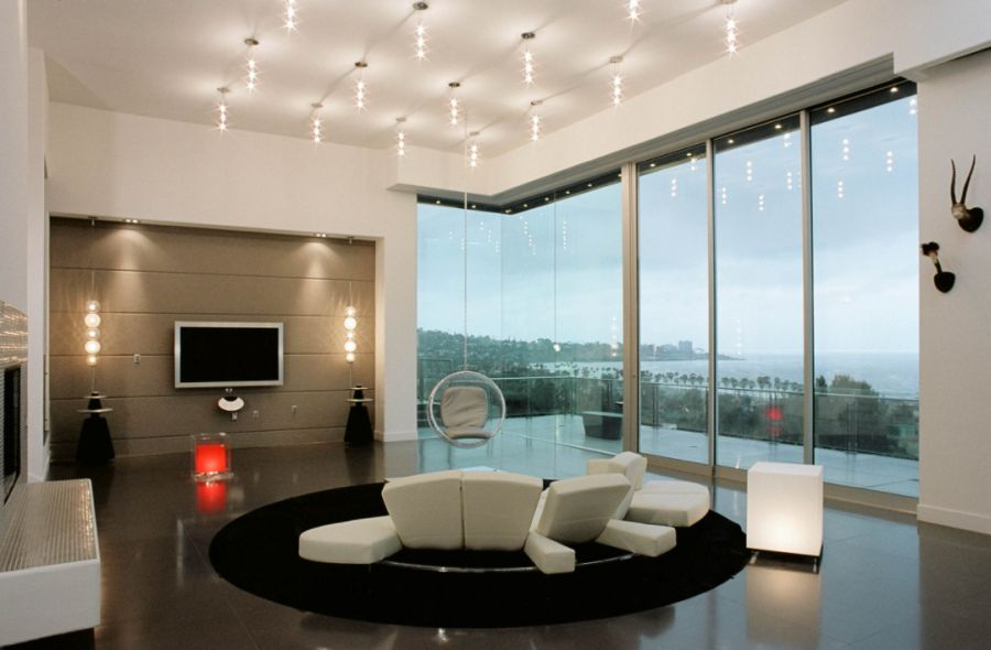 Large living room with hanging chair