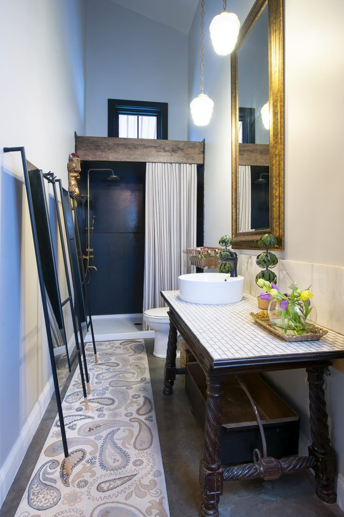 The bathrooms are small but are definitely not lacking character, as you can easily see here