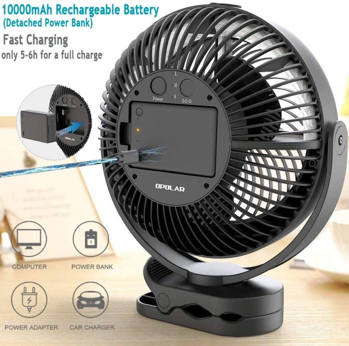 Tabletop OPOLAR Portable Battery Operated Fan
