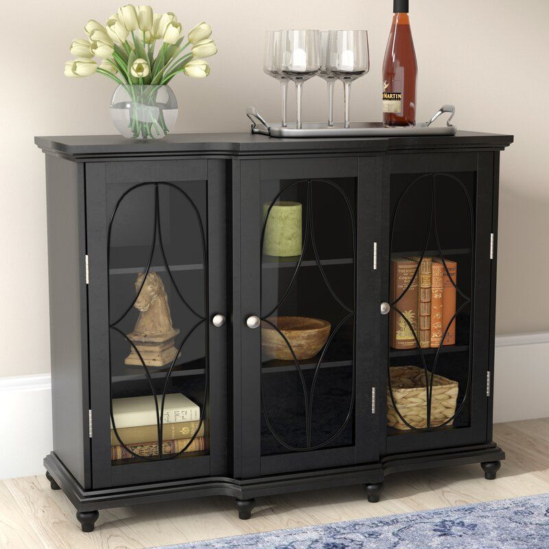 Black Odell 3 Doors Accent Cabinet