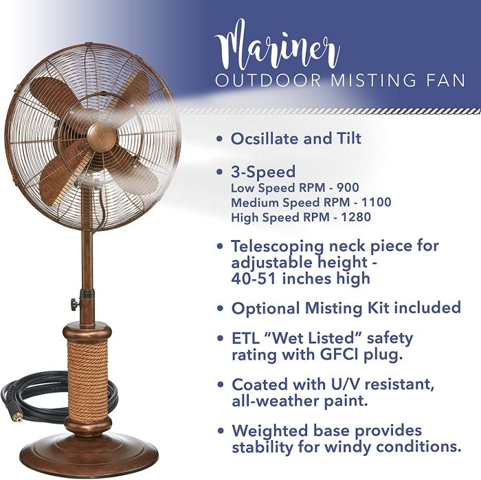 Outdoor Oscillating Fan with Misting Kit