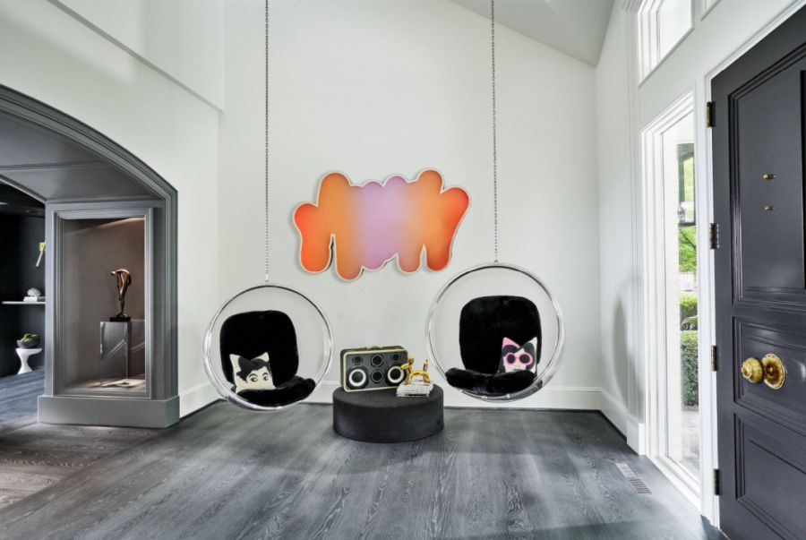 hanging bubble chair with black seating