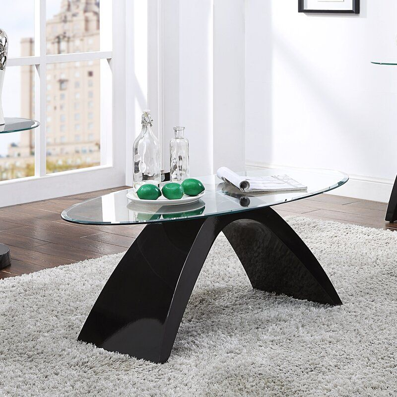 Pylant Sled Oval Glass Coffee Table