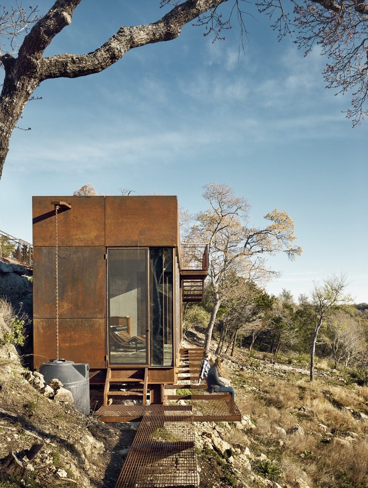 The exterior of the cabin is clad in Corten steel which changes color as time passes