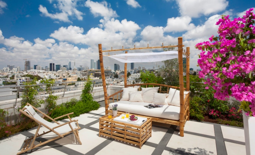 Rooftop patio decor with daybed