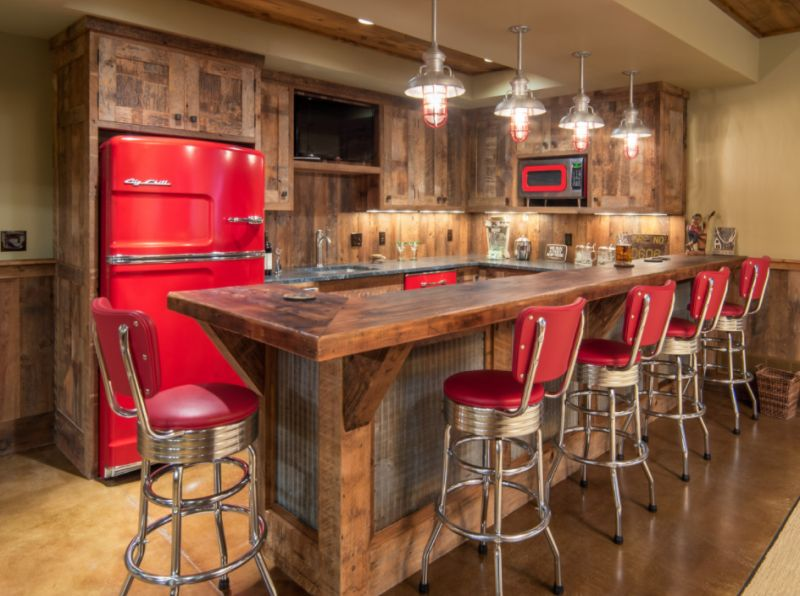 Rustic Home Bar With Red Chairs