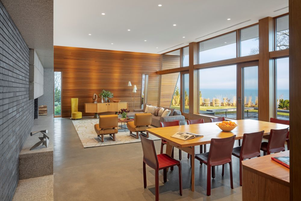 Inside, the main living room, dining room and kitchen are all combined in a large and open space