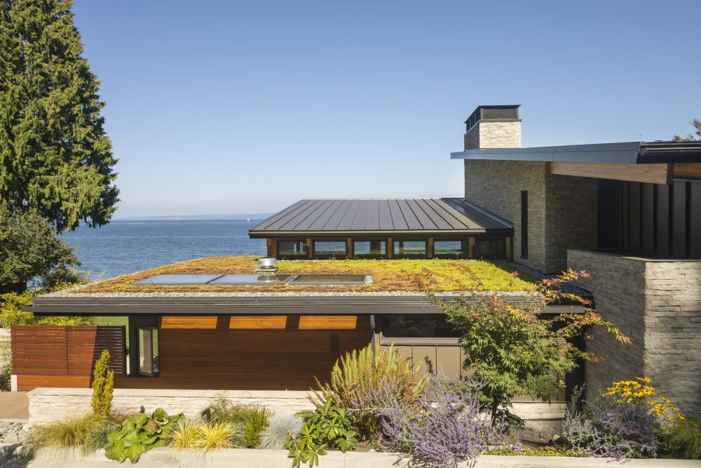 The green cantilevered roof allows the interior spaces to extend more towards the magnificent views
