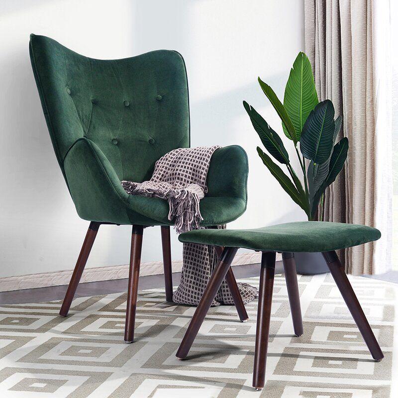 Simone Velvet Lounge Chair and Ottoman
