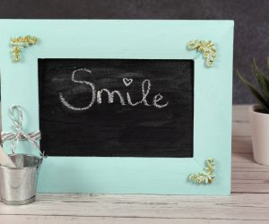 DIY Framed Chalkboard With Clay Ornaments