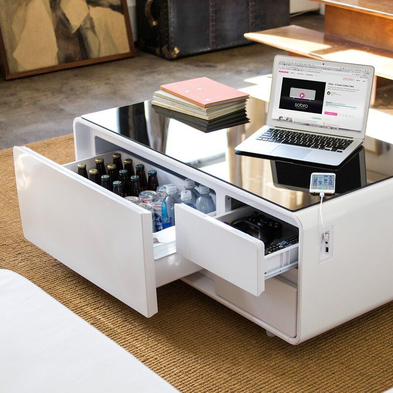 White Sobro Smart Coffee Table with Storage