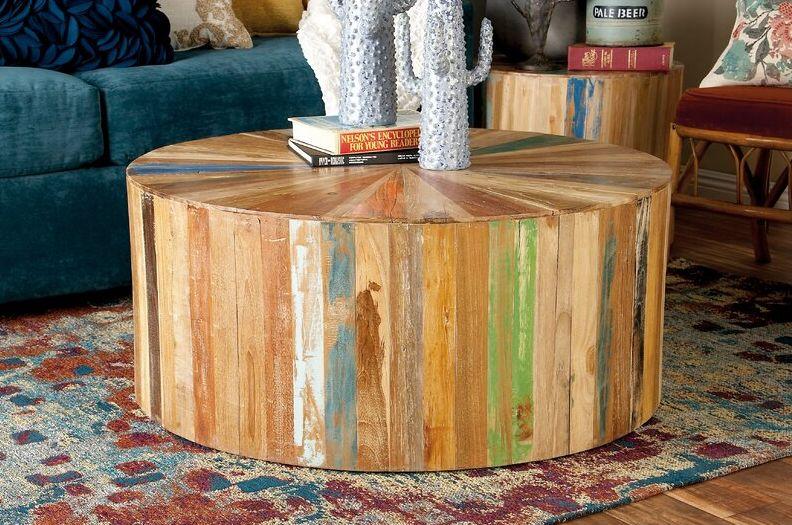 Solid Wood Drum Coffee Table