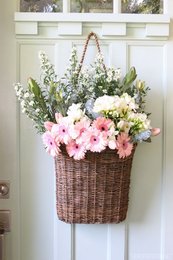A basket full of flowers